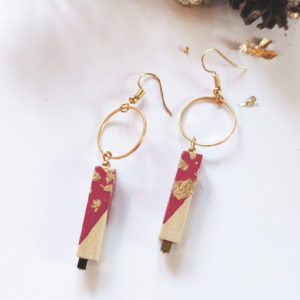 Gebetnout bijoux fantaisie lyon mode tendance bijouterie femme Annecy artisan bois cercle barre rose feuille or