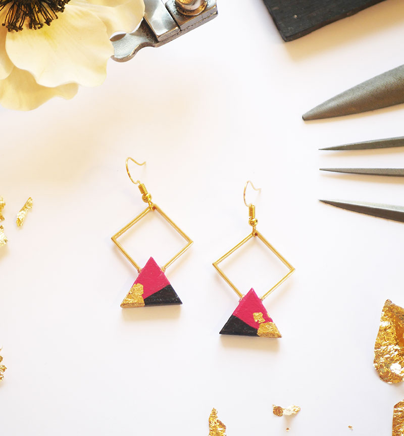 Gebetnout bijoux fantaisie lyon mode tendance bijouterie femme Annecy artisan bois ebene losange triangle rose framboise feuille or