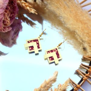 Gebetnout bijoux fantaisie lyon mode tendance bijouterie femme Annecy artisan laiton tissu upcycling fleuri rouge ecru dore