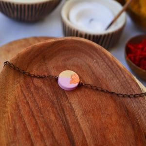 Gebetnout bijoux fantaisie lyon mode tendance bijouterie femme Annecy artisan watthanaram ayutthaya bois geometrie bracelet rose feuille cuivre