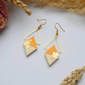 Gebetnout bijoux fantaisie lyon mode tendance bijouterie femme Annecy artisan Licancabur bois japonais geometrie losange jaune ambre feuille or dore