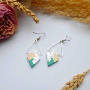 Gebetnout bijoux fantaisie lyon mode tendance bijouterie femme Annecy artisan Licancabur bois japonais geometrie losange vert blanc feuille or argente