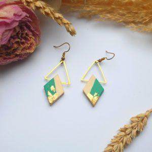 Gebetnout bijoux fantaisie lyon mode tendance bijouterie femme Annecy artisan Licancabur bois japonais geometrie losange vert emeraude feuille or dore