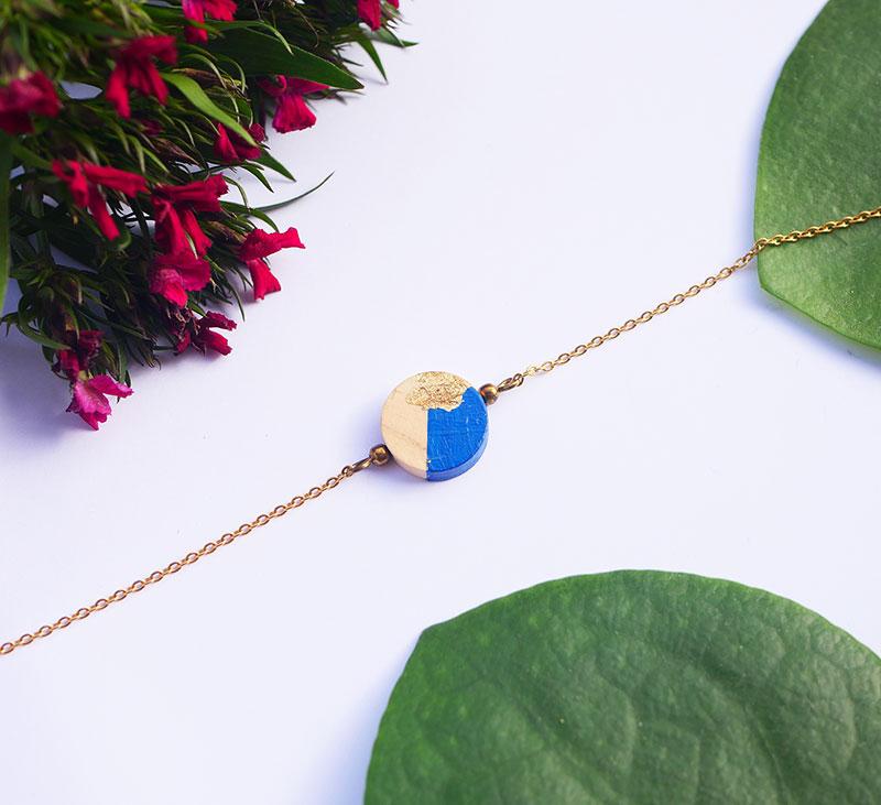 Gebetnout bijoux fantaisie lyon mode tendance bijouterie femme Annecy artisan bois japonais geometrie rond bleu feuille or dore bracelet