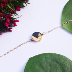 Gebetnout bijoux fantaisie lyon mode tendance bijouterie femme Annecy artisan bois japonais geometrie rond noir feuille or dore bracelet