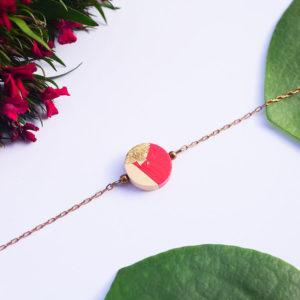 Gebetnout bijoux fantaisie lyon mode tendance bijouterie femme Annecy artisan bois japonais geometrie rond rouge feuille or dore bracelet