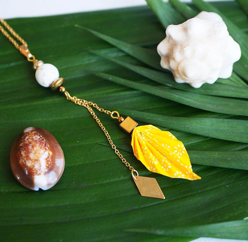 Gebetnout bijoux fantaisie lyon mode tendance bijouterie femme Annecy artisan Opunohu origami feuille collier jaune magnesite dore