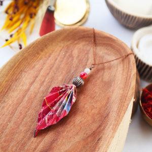 Gebetnout bijoux fantaisie lyon mode tendance bijouterie femme Annecy artisan watthanaram ayutthaya origami feuille agate corail cuivre sautoir