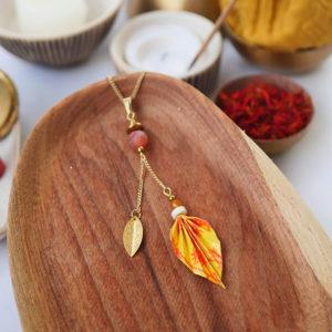 Gebetnout bijoux fantaisie lyon mode tendance bijouterie femme Annecy artisan watthanaram ayutthaya origami feuille agate jaune orange collier