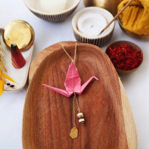 Gebetnout bijoux fantaisie lyon mode tendance bijouterie femme Annecy artisan watthanaram ayutthaya origami grue rose magnesite dore sautoir