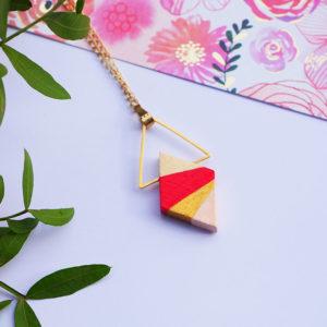 Gebetnout bijoux fantaisie lyon mode tendance bijouterie femme Annecy artisan bois japonais geometrie losange corail rose dore