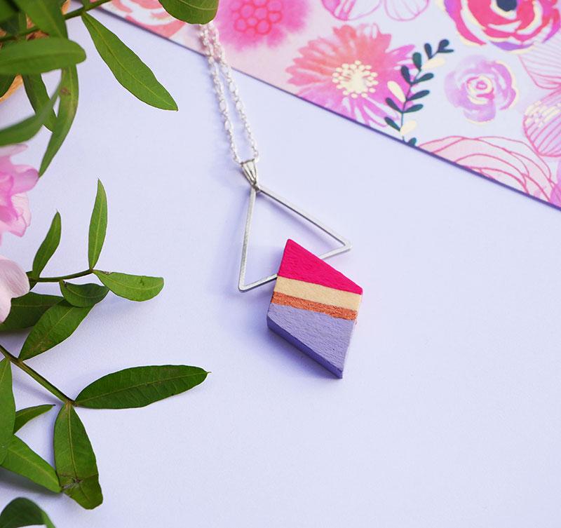 Gebetnout bijoux fantaisie lyon mode tendance bijouterie femme Annecy artisan bois japonais geometrie losange framboise lavande cuivre