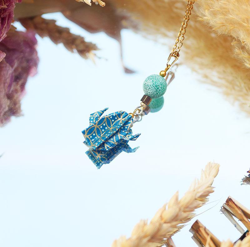 Gebetnout bijoux fantaisie lyon mode tendance bijouterie femme Annecy artisan origami sautoir cactus bleu canard dore or