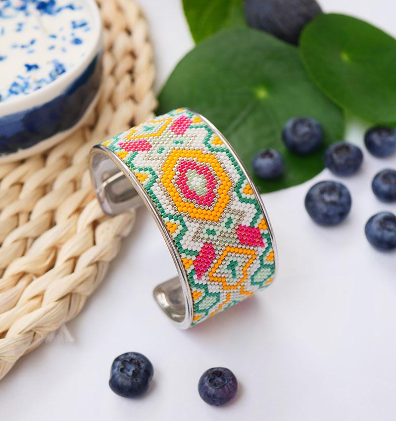 Gebetnout bijoux fantaisie lyon mode tendance bijouterie femme annecy artisan manchette miyuki jaune vert rouge blanc argent bracelet