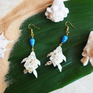 Gebetnout bijoux fantaisie lyon mode tendance bijouterie femme Annecy artisan Opunohu origami tortue fleuri bleu dore