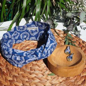 Gebetnout bijoux fantaisie lyon mode tendance bijouterie femme Annecy artisan laiton tissu upcycling hermanitas fleuri bleu blanc dore bandeau cheveux