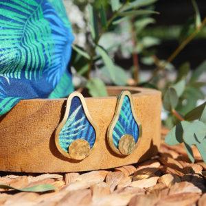Gebetnout bijoux fantaisie lyon mode tendance bijouterie femme Annecy artisan laiton tissu upcycling hermanitas fleuri bleu vert dore