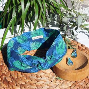 Gebetnout bijoux fantaisie lyon mode tendance bijouterie femme Annecy artisan laiton tissu upcycling hermanitas fleuri bleu vert dore bandeau cheveux