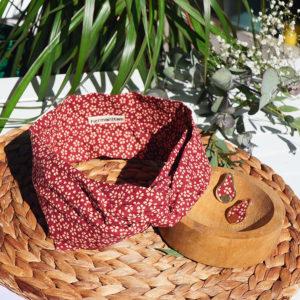 Gebetnout bijoux fantaisie lyon mode tendance bijouterie femme Annecy artisan laiton tissu upcycling hermanitas fleuri bordeaux ecru dore bandeau cheveux