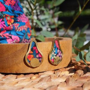 Gebetnout bijoux fantaisie lyon mode tendance bijouterie femme Annecy artisan laiton tissu upcycling hermanitas fleuri multicolore dore