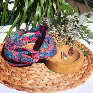 Gebetnout bijoux fantaisie lyon mode tendance bijouterie femme Annecy artisan laiton tissu upcycling hermanitas fleuri multicolore dore bandeau cheveux