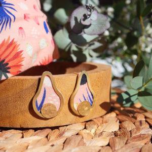 Gebetnout bijoux fantaisie lyon mode tendance bijouterie femme Annecy artisan laiton tissu upcycling hermanitas fleuri rose bleu saumon dore