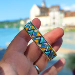 Gebetnout bijoux fantaisie lyon mode tendance bijouterie femme Annecy artisan manchette miyuki bleu blanc jaune turquoise dore bracelet