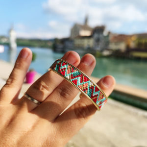 Gebetnout bijoux fantaisie lyon mode tendance bijouterie femme Annecy artisan manchette miyuki corail saumon turquoise dore bracelet