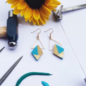 Gebetnout bijoux fantaisie lyon mode tendance bijouterie femme Annecy artisan bois buis geometrie losange triangle laiton turquoise dore or