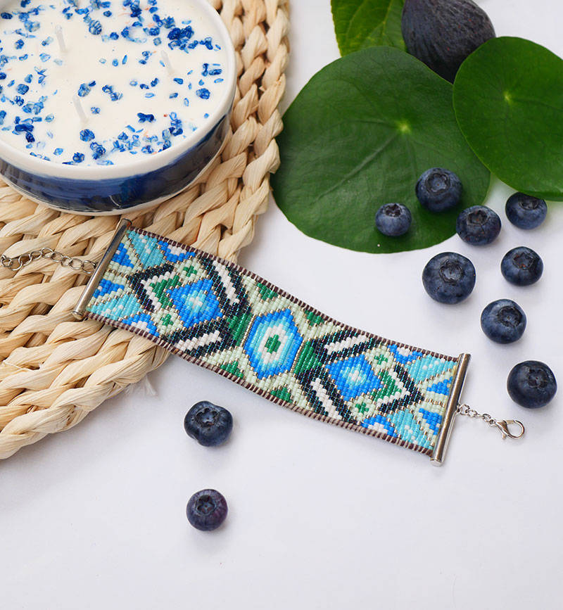Gebetnout bijoux fantaisie lyon mode tendance bijouterie femme annecy artisan manchette miyuki bleu vert argent cuir bracelet