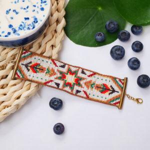 Gebetnout bijoux fantaisie lyon mode tendance bijouterie femme annecy artisan manchette miyuki jaune vert rouge blanc ete indien plume bracelet
