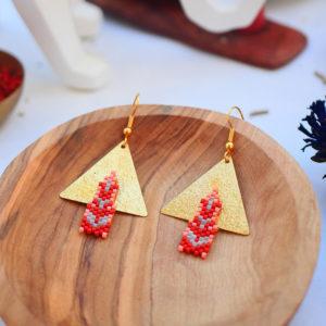 Gebetnout bijoux fantaisie lyon mode tendance bijouterie femme Annecy artisan watthanaram ayutthaya miyuki geometrie saumon rouge dore stupa