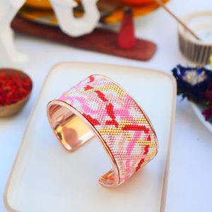 Gebetnout bijoux fantaisie lyon mode tendance bijouterie femme Annecy artisan watthanaram ayutthaya miyuki manchette racine cuivre rose corail