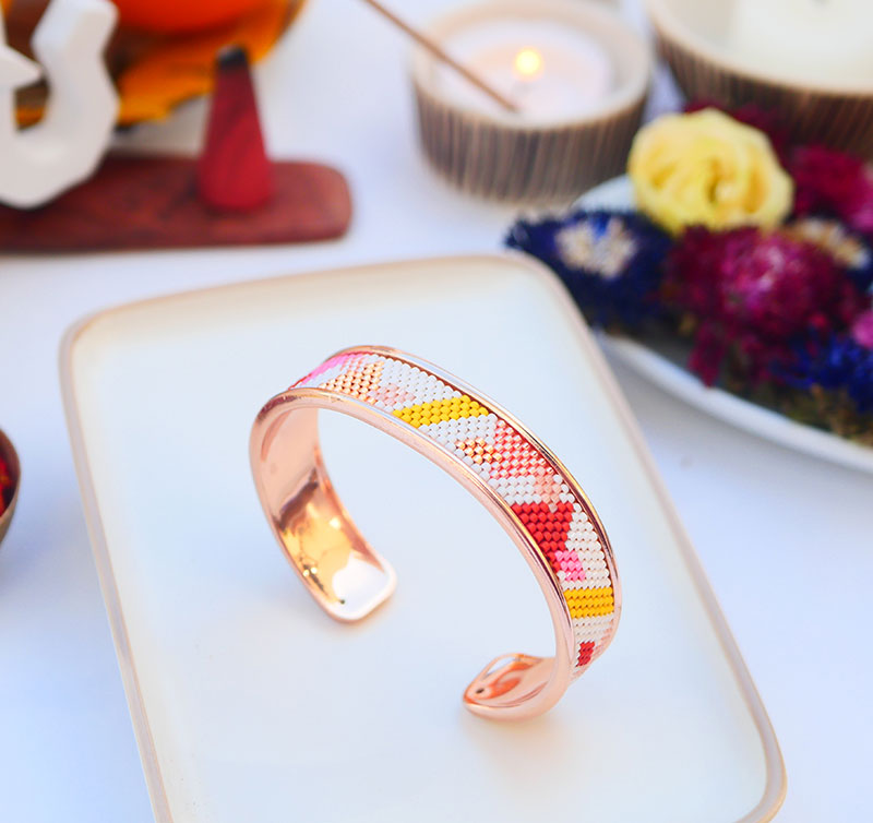 Gebetnout bijoux fantaisie lyon mode tendance bijouterie femme Annecy artisan watthanaram ayutthaya miyuki manchette racine cuivre rose jaune bracelet