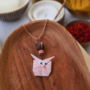 Gebetnout bijoux fantaisie lyon mode tendance bijouterie femme Annecy artisan watthanaram ayutthaya origami hibou rose bois cuivre collier
